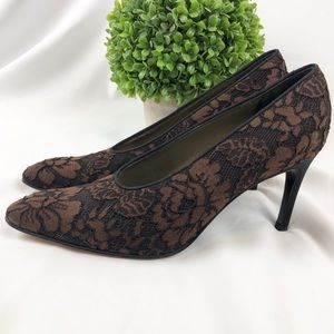 YSL Yves Saint Laurent lace floral heels shoes